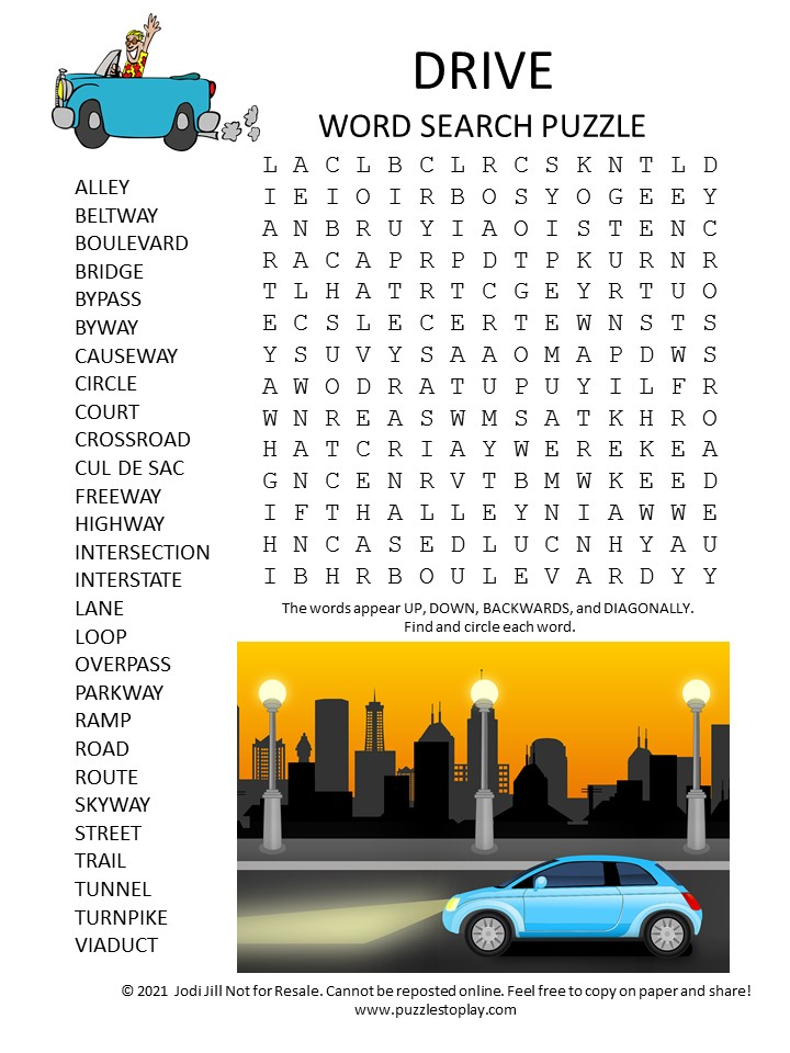 drive word search puzzle