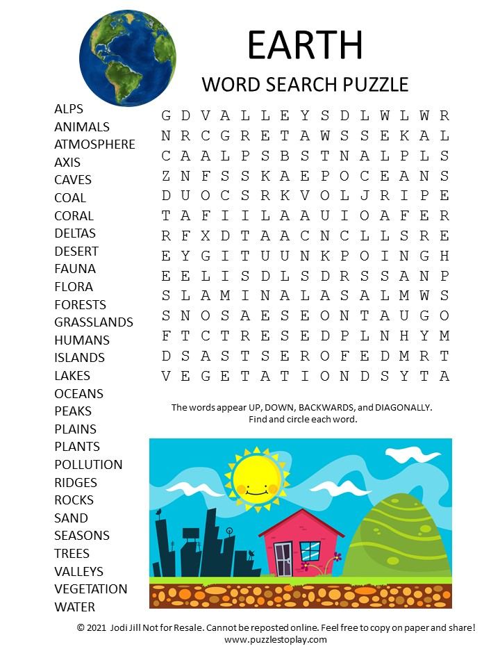 earth word search puzzle