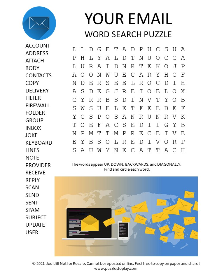 email word search puzzle