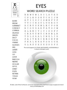eyes word search puzzle