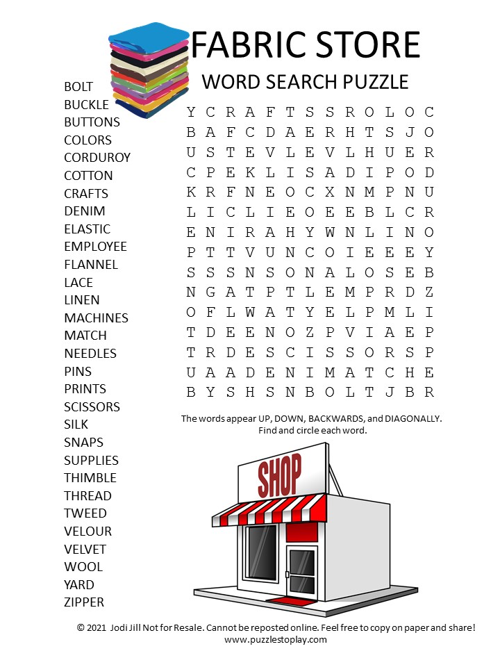 fabric store word search puzzle