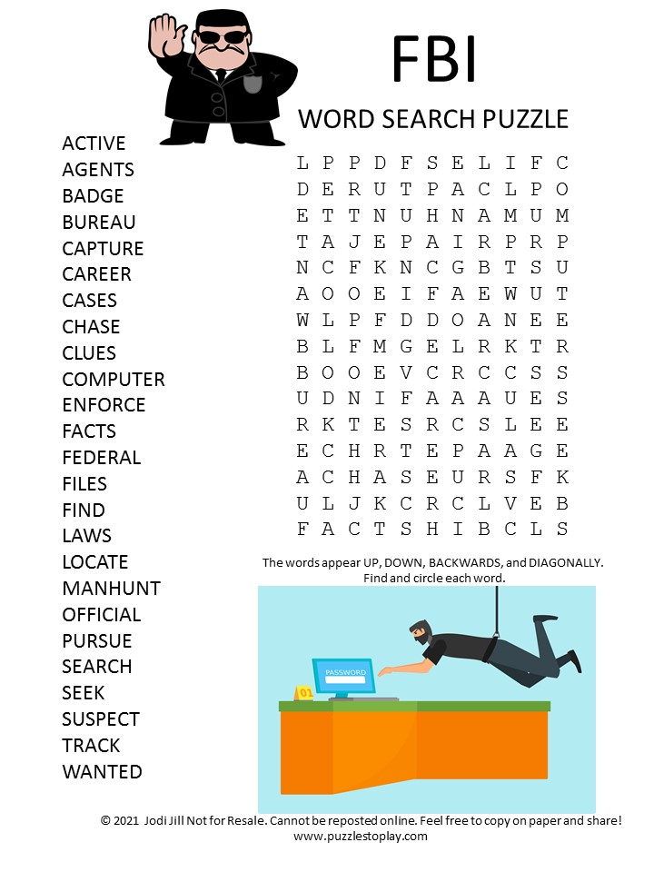 fbi word search puzzle