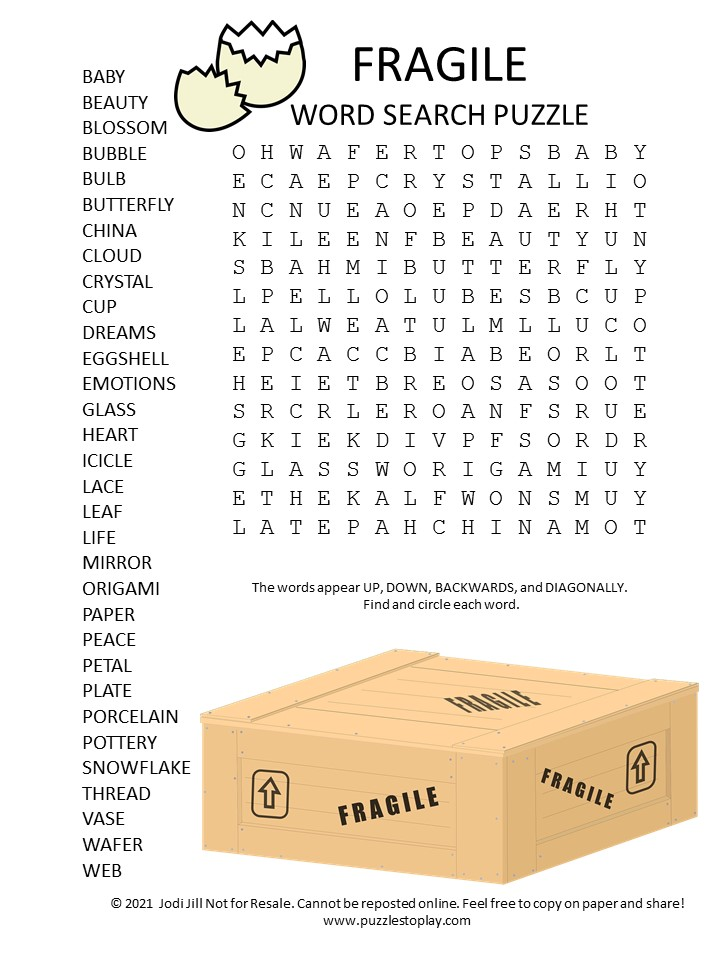 fragile word search puzzle