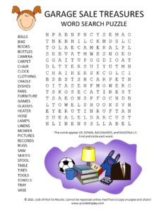 garage sale treasures word search puzzle