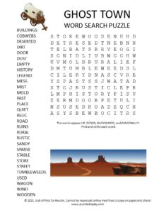 ghost town word search puzzle
