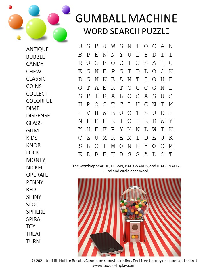 gumball machine word search puzzle