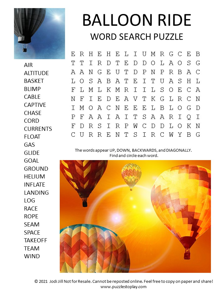 hot air balloon ride word search puzzle