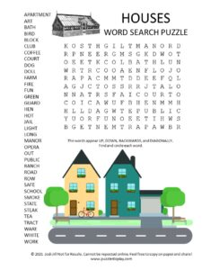 houses word search puzzle