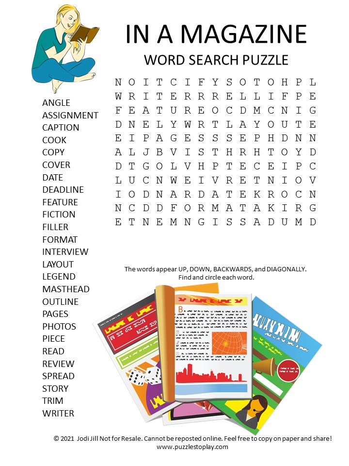 in a magazine word search puzzle