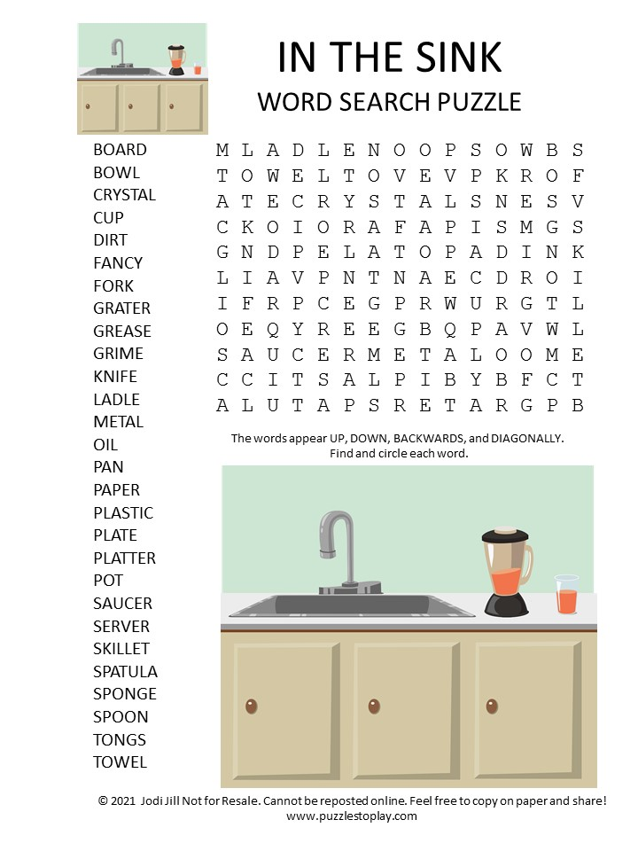 in the sink word search puzzle