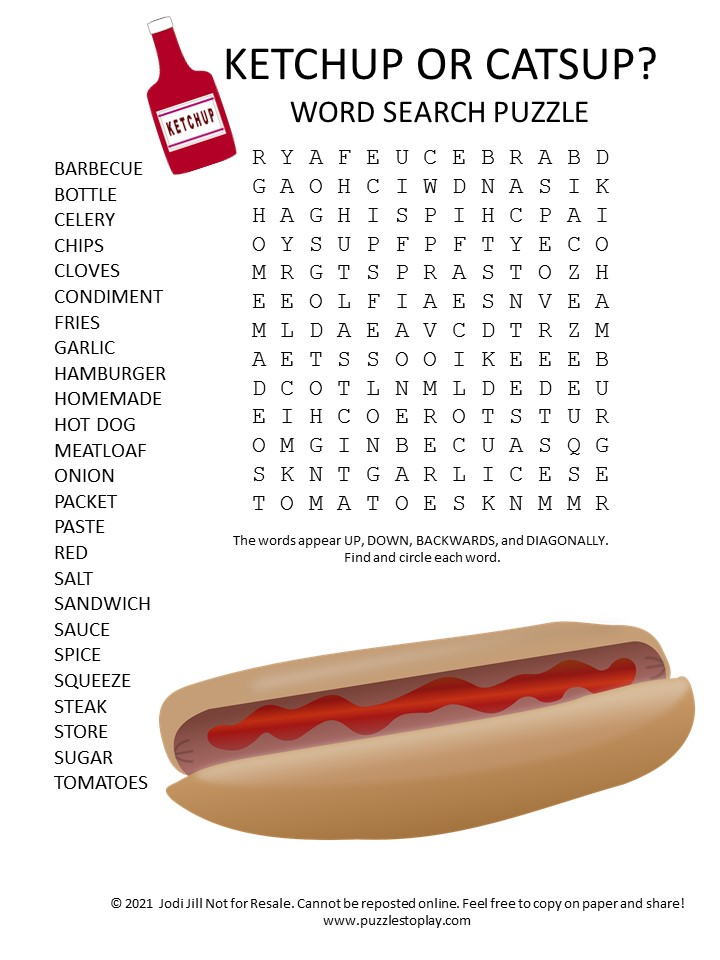 ketchup or catsup word search puzzle