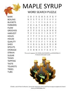 maple syrup word search puzzle