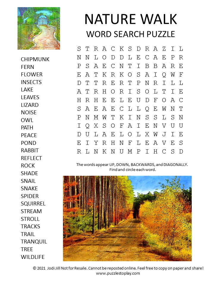 nature walk word search puzzle