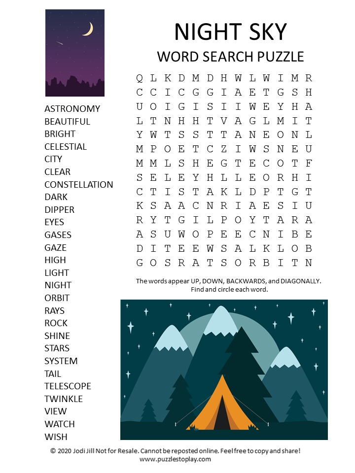 night sky word search puzzle