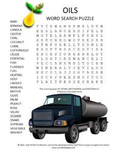 oils word search puzzle