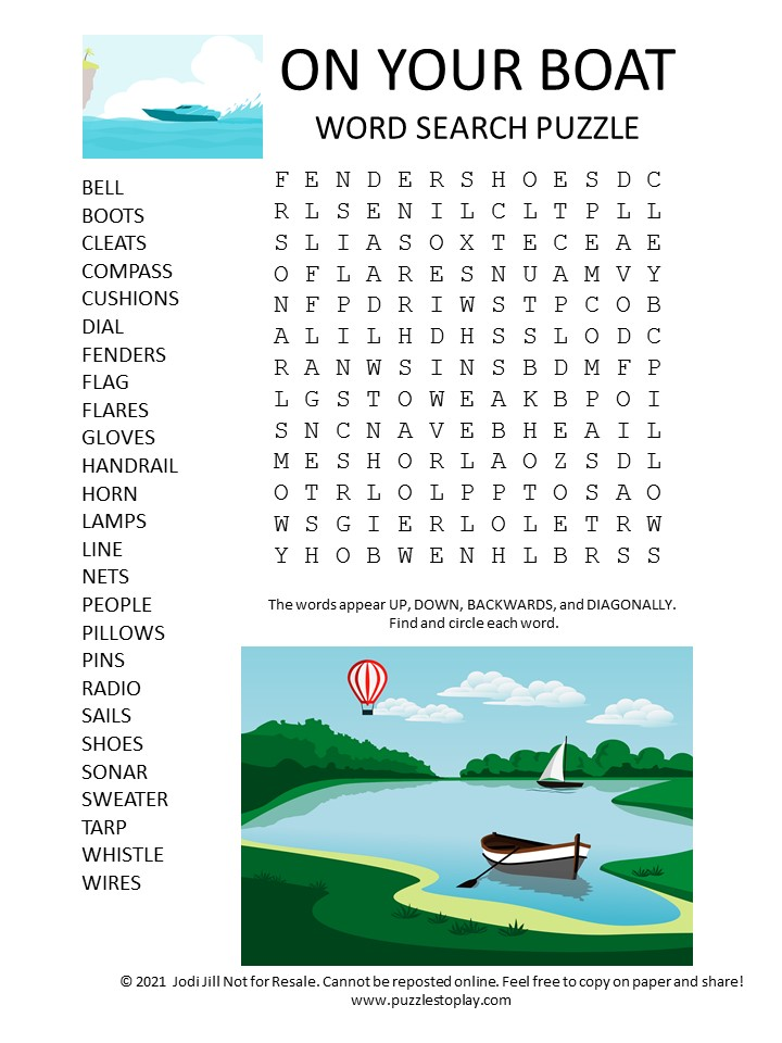 on your boat word search puzzle