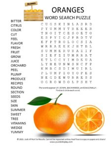 oranges word search puzzle