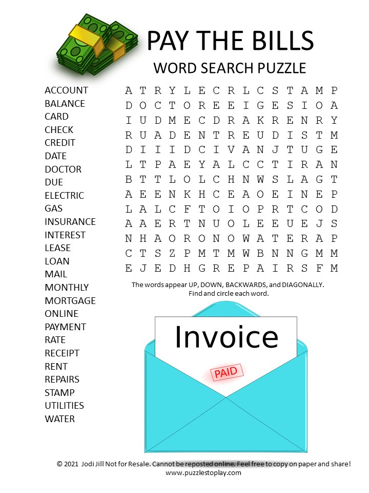 pay bills word search puzzle