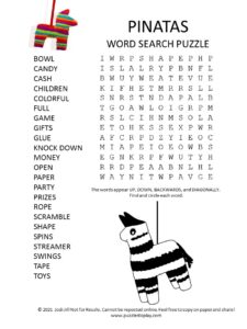 pinatas word search puzzle