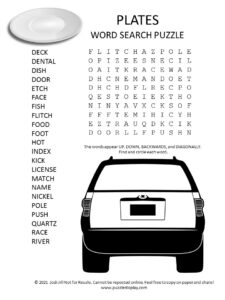plates word search puzzle
