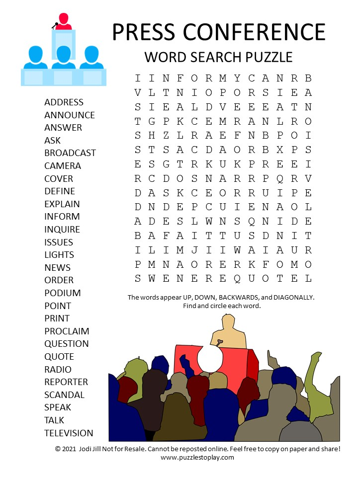 press conference word search puzzle