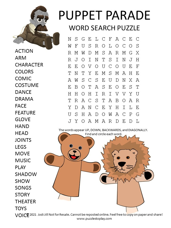 puppet word search puzzle
