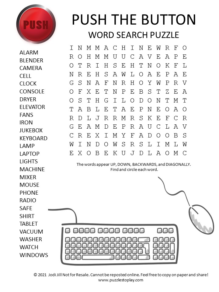 push the button word search puzzle