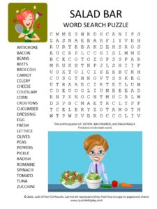 salad bar word search puzzle