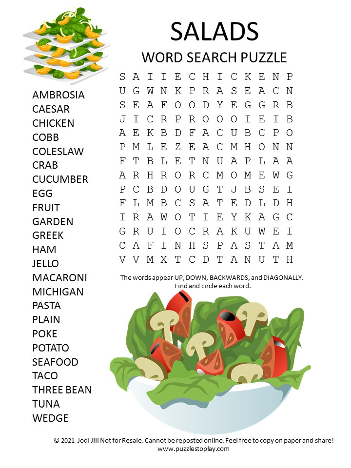 salad word search puzzle