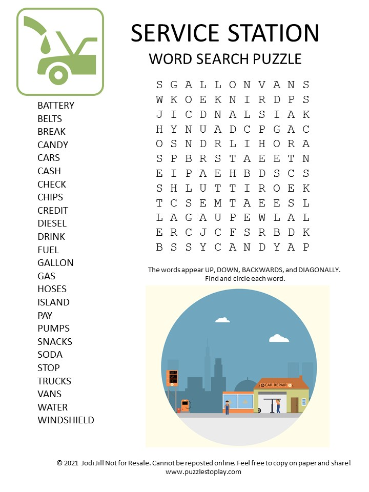 service station word search puzzle