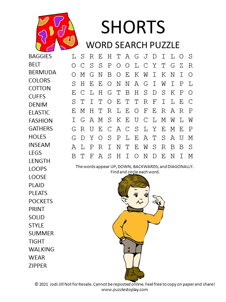 shorts word search puzzle