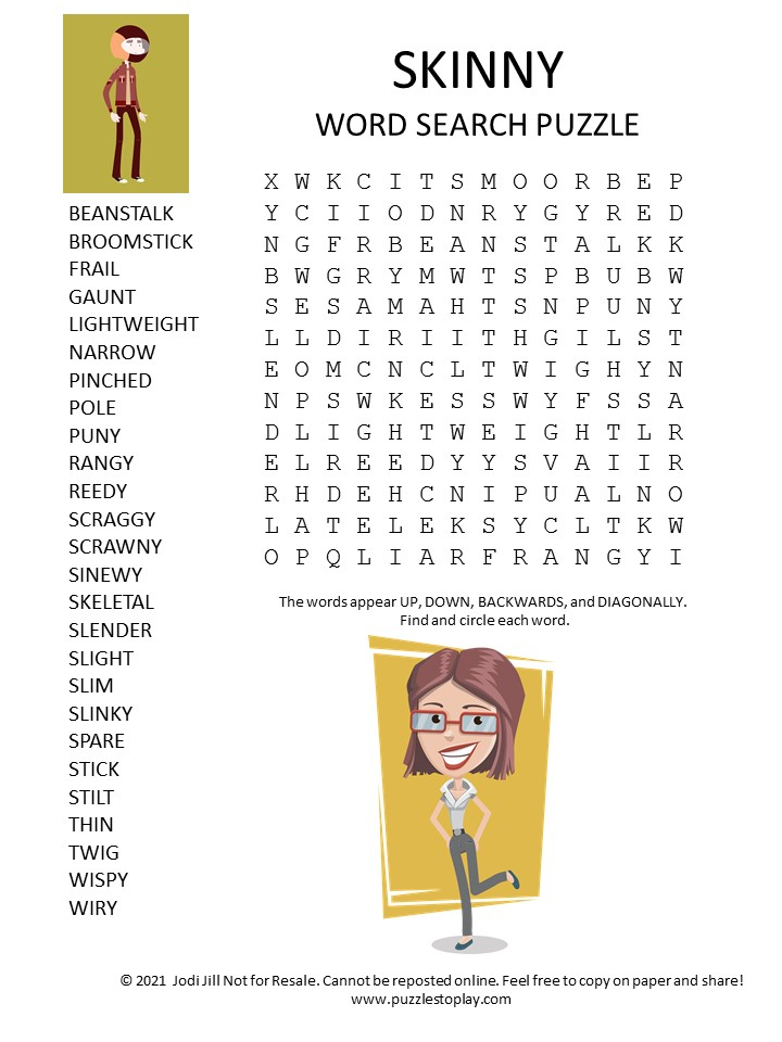 skinny word search puzzle
