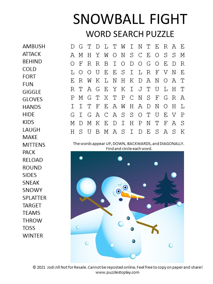 snowball fight word search puzzle