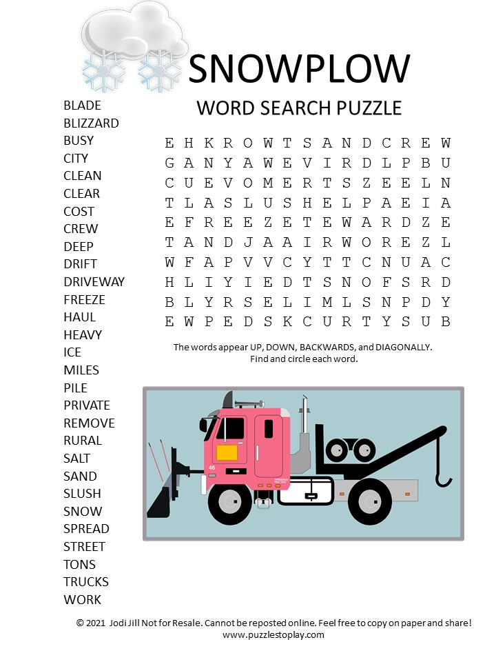snowplow word search puzzle