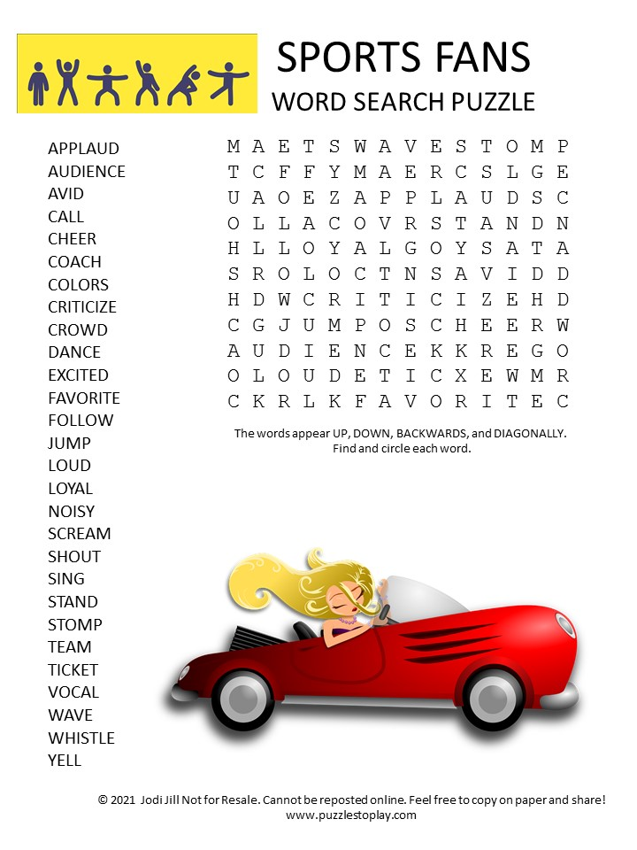 sports fans word search puzzle