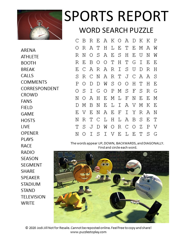 sports report word search puzzle