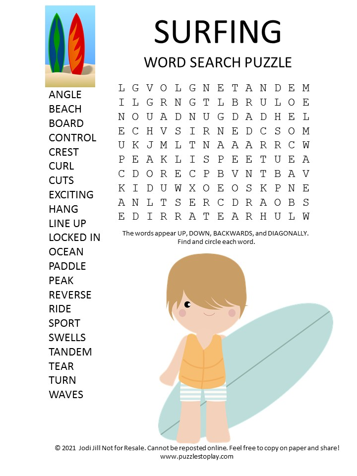 surfing word search puzzle