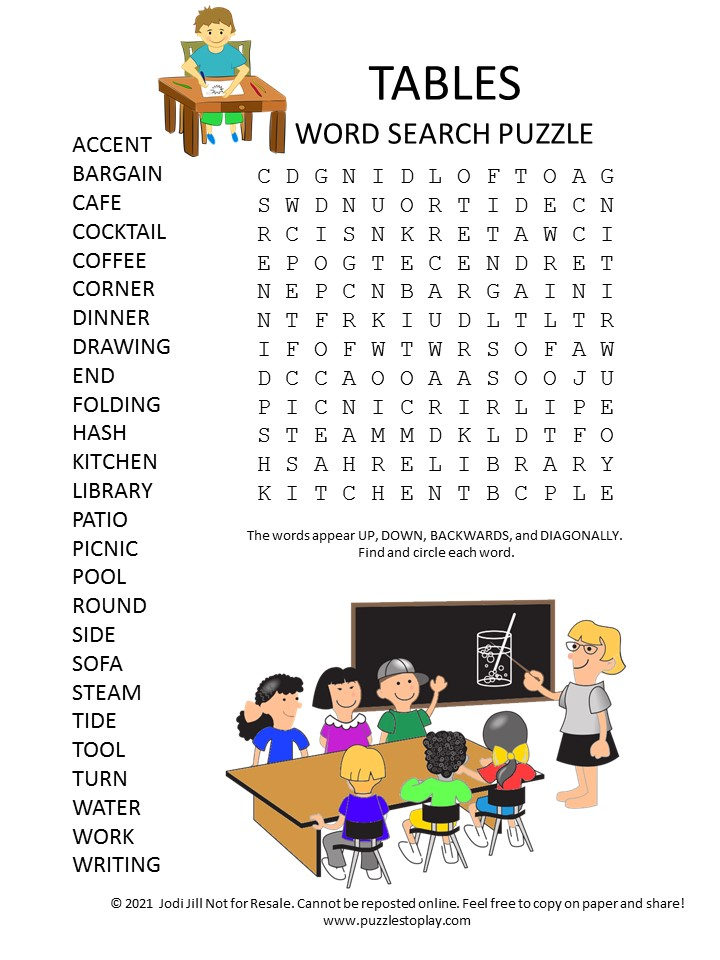 tables word search puzzle