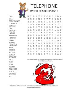 telephone word search puzzle
