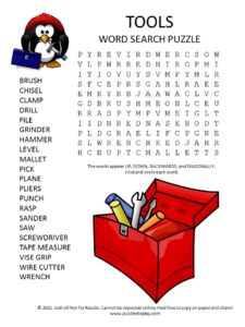 tools word search puzzle