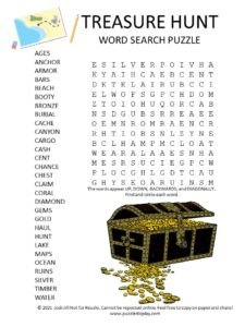 treasure hunt word search puzzle