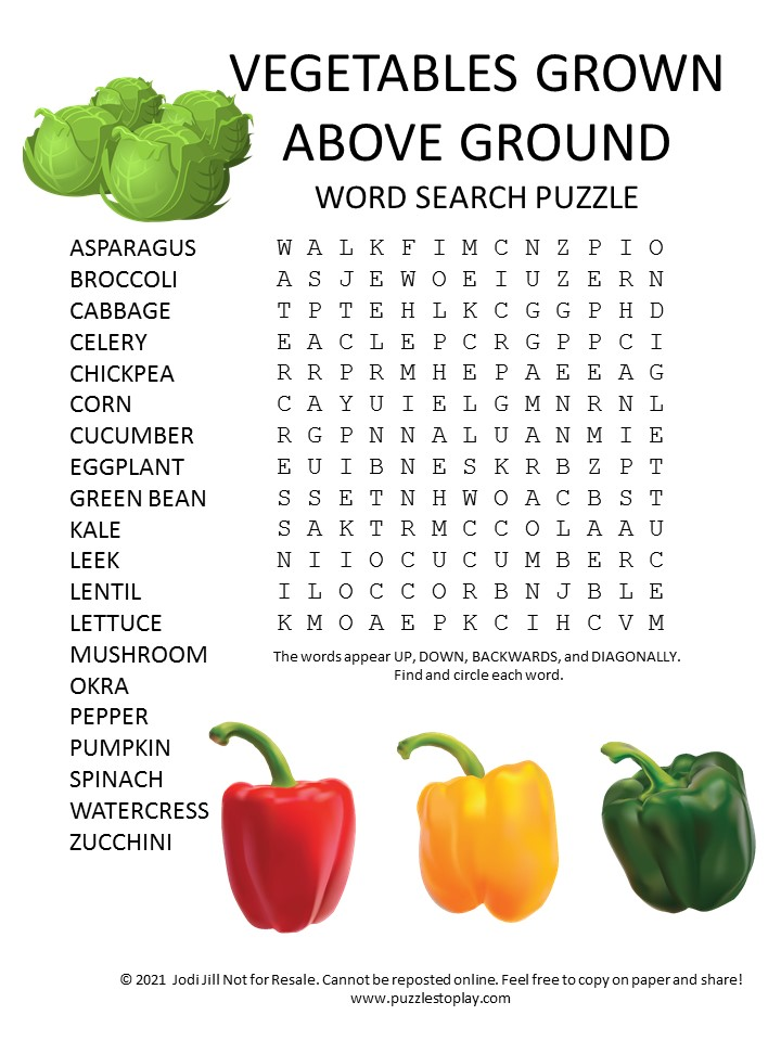 vegetables grown above ground word search puzzle