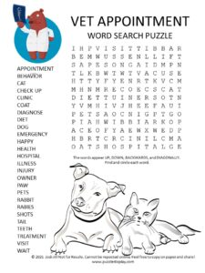 vet appointment word search puzzle