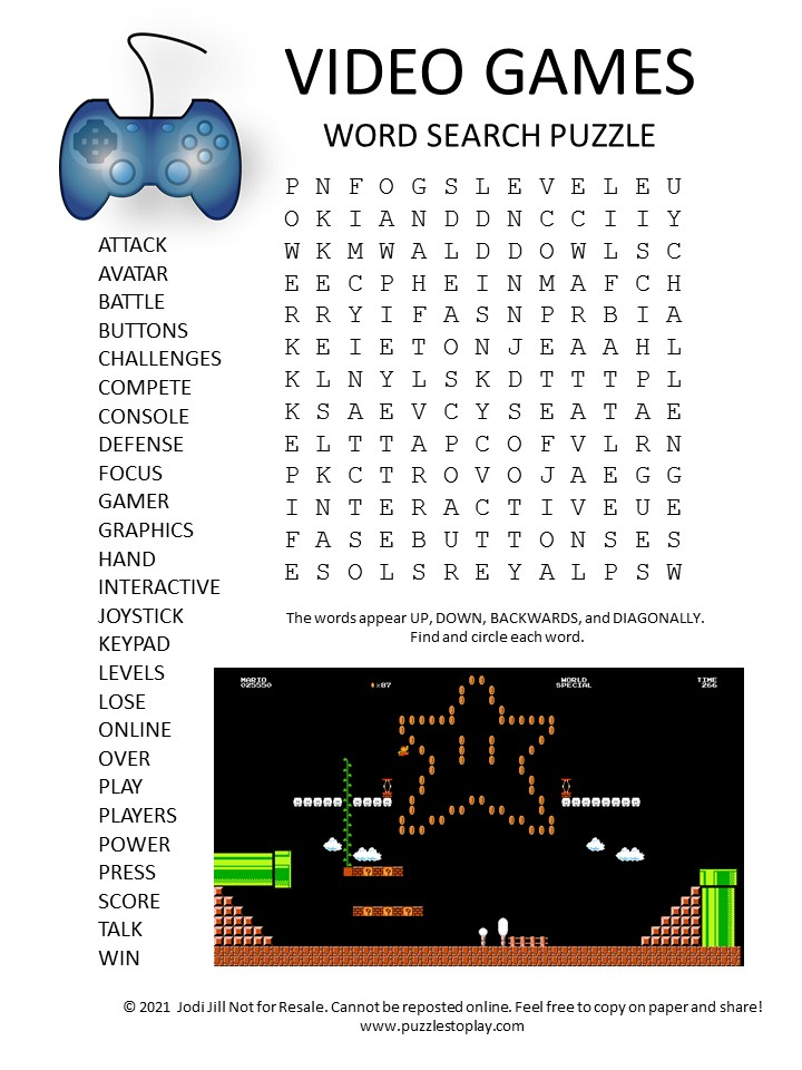 video games word search puzzle