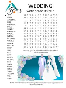 wedding word search puzzle