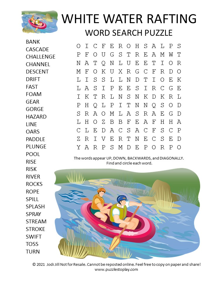 white water rafting word search puzzle