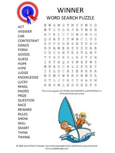 winner word search puzzle
