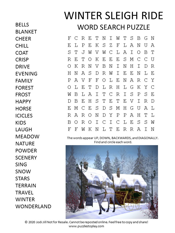 winter sleigh ride word search puzzle