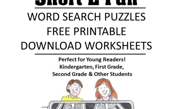 word family fluency Short E word search puzzles for kids