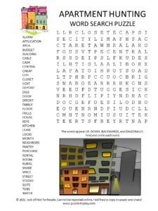 Apartment Hunting Word Search Puzzle